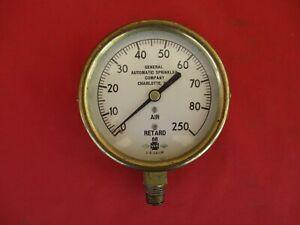 Vintage 1966 Brass GENERAL Automatic Sprinkler Gauge 0-250 PSI USG (1799)