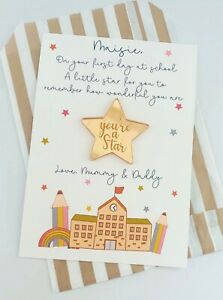 First at School Card, Your are a Little Star, Pocket Hug Token Personalised Gift