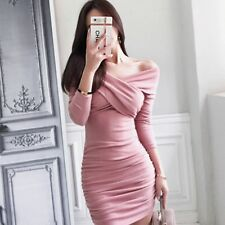 Women Sexy Package buttocks Long Sleeves V neck Bodycon Party Draped Mini dress