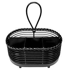 Black Vintage Table Napkin & Cutlery Storage Caddy Condiment Sauce Menu Holder