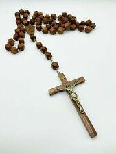 Rosenkrankz groß FATIMA Holz geschnitzt Sammler 140 cm Muttergottes Jesuskreuz