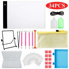 34Pcs 5D Diy Diamond Painting Tools Diy A4 Led Light Pad Cross Stitch Art Kit