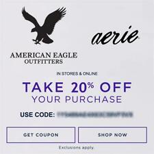 20% OFF American Eagle Outfitters & Aerie Promo Coupon Code Ex 7/30/19