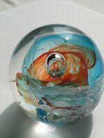 Glass Art Paperweight Orange And Blue Swirl 2 1/2 Inch