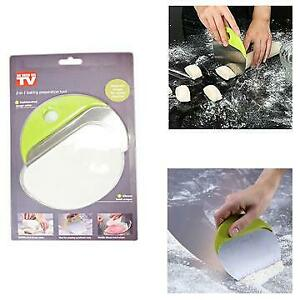 2 in 1 Pastry Dough Cutter Scraper with Measure Stainless Steel Bread Pizza Pies