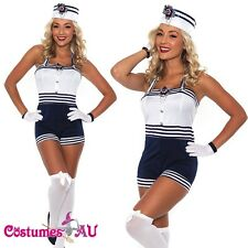 Ladies Sailor Uniform Navy Blue Costume 50s Rockabilly Pin Up Fancy Dress Up Hat