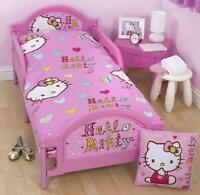 HELLO KITTY PINK JUNIOR TODDLER COT BED DUVET SET QUILT COVER BOYS GIRLS BEDDING