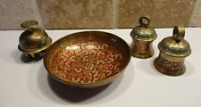 Vintage INDIA BRASS Lot 4 Bells Bowl Elephant Claw Etched hand painted