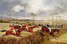 Huge Oil painting horsemen portraits riders with red horses horserace in scene