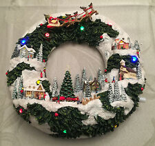 "Roman Musical 11.75""Led Wreath Village Scene W/Santa B/O 31053 Nib"