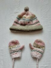 Catimini Hat and Matching Mittens On a String