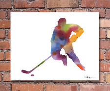 Hockey Player Abstract Watercolor Painting Art Print by Artist DJ Rogers