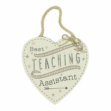 Best Teaching Assistant Hanging Heart Plaque - Wooden hanging Teacher Gift