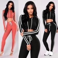 2PCS Women Ladies Pullover Hoodies Sweatshirt Tops+Pants Sport Wear Casual Sets