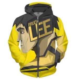 Chinese Kung-Fu Bruce Lee 3d Zip Hoodie Jacket Unisex Fashion Sweatshirt Coat