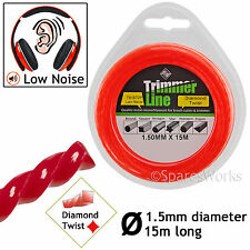 1.5mm Low Noise 15m Long Strimmer Trimmer Brush Cutter Line Wire Cord Cable