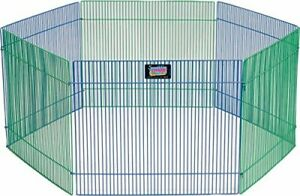 Small Animal Pet Playpen /Exercise Pen Blue and Green1 Count Pack of 1 Small ...