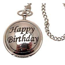Happy Birthday Pocket Watches Double Hunter Skeleton Movement 55
