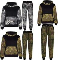 New Kids Army Camouflage Children's Boys Sports Hooded Top Bottom Full Tracksuit