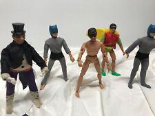 """Vintage Mego Batman Robin Penguin Beater Lot 5 Marvel 8"""" Action Figures READ"""