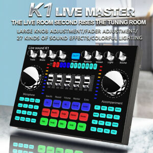 Pro Digital Audio Mixer Live Sound Card Mixing Console for PC Phone Network Live
