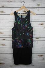$168 NEW Charlie Jade Women's Medium Black multi colored Silk Sleeveless Dress