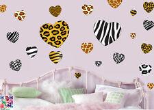 Animal Print Heart Pack of 22 Wall Art Stickers Decals Murals Zebra Tiger