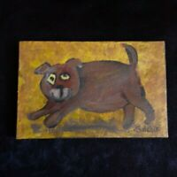Dog Original Miniature 4 x 6 ins. acrylic painting on canvas by Gulchik