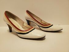 1970s Miss Wonderful Pumps - White, Red, Blue - Size 6 - Heels, Shoes - Vintage