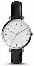 FOSSIL ES3865 Incandesa Women's Silver Slim Black Leather Watch 36mm