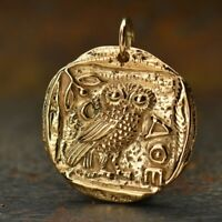 Ancient Coin Charm Owl of Athena Bronze Greek Athena's Owl Gold Necklace B886