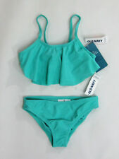 Old Navy girls twist back ruffle bikini suit set aqua color size small (6/7) NWT
