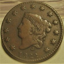 1822 CORONET HEAD LARGE CENT **VF+** RARE US COIN.