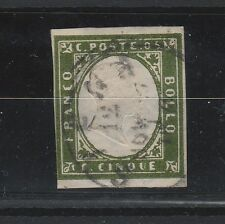 FRANCOBOLLI 1862 SARDEGNA 5 C. VERDE BRONZO Z/2421