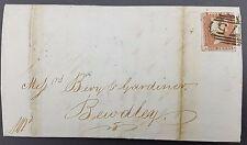 GB 1847 QV Penny 1d Red Star-af cubierta, Bewdley 75 numeral cancelar, volver alquiler debido