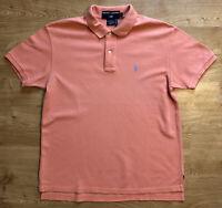 Vintage Ralph Lauren Polo Sport Mens Coral Salmon Pink Orange M Short Sleeved
