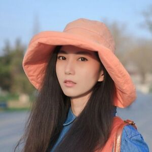 Ladies Cotton Summer Sun Hat Large Wide Brim Cap Foldable Packable Fashion New