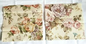 """Lot of 2 Floral Print Cotton Fabric Swatches Vintage 11"""" x 11.5"""" Pastel Flowers"""