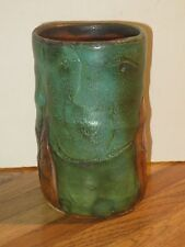 Mike Norman Studio Pottery Tumbler With Incised Abstract Figures, Signed