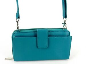 RFID Blocking Faux Leather Clutch Purse, Teal, Adjustable CrossBody Strap #L9312