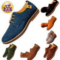 Suede Leather Shoes Mens Oxfords Casual Lace Up Flat Formal