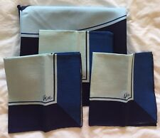 VTG Vera Neumann MCM Round Tablecloth & 3 Napkins Color Block Blue Navy Royal