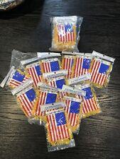 American Flag Mini Banner Usa W/ Brass Staff. Pack Of 12.