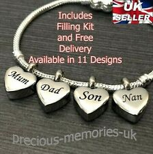 Family Cremation Ashes Urn European Bead Bracelet Charm - Memorial Jewellery