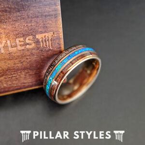 Rose Gold Ring Mens Wedding Band Blue Opal Ring 8mm Koa Wood Ring Antler Rings