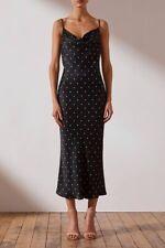 Shona Joy Cowl Midi Dress Black and Cream Polka Dot Size 12