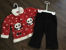 NWT Baby Kids Girl 2 Piece Red White Polka Dot Panda Outfit Clothes Warm Fleece