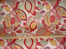 13+Y VIBRANT COWTAN TOUT FORTUNATO LARGE SCALE  FLORAL LINEN UPHOLSTERY FABRIC