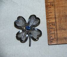 """Hearts Pin Brooch Blue Center Stone 1.5"""" Vintage Silver Tone Mesh 4 Leaf Clover"""