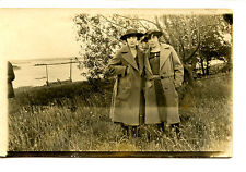 Women Lady Friends Outdoors-Matching Coats-RPPC-Vintage Real Photo Postcard